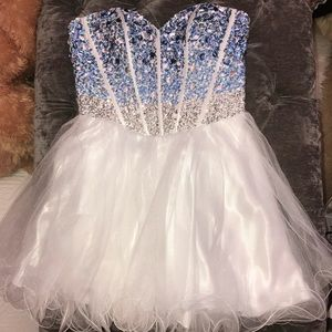 Strapless blue and white homecoming dress